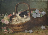 deux chatons au panier fleuri by jules gustave leroy