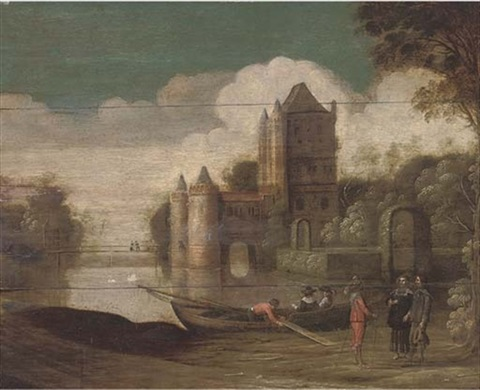 A Landscape With A Moated Castle And Gentlemen Conversing By A Boat