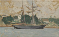 voilier au bord de la mer by jean puy