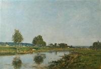 la rivieres morte a deauville by eugène boudin