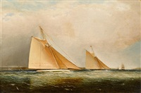 cutters leading the fleet through the sound, ny by james edward buttersworth