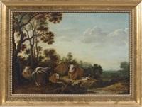 vaches et canards dans un paysage by gillis claesz de hondecoeter