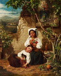 italian landscape with two little girls with bunches of flowers at a roadside altar by carl gottfried eybe
