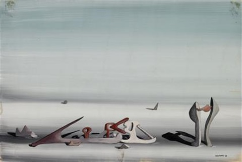 surrealist composition by yves tanguy