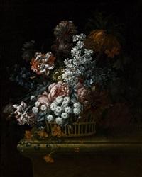 trionfo floreale in un cesto su un piano by josé de arellano
