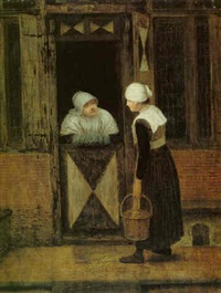 a dutch street with two women in conversation at a doorway by jacobus vrel