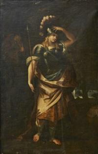 pallas athena i ett landskap by karel van mander iii