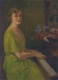 a lady in a green dress playing the piano by edward barnard lintott