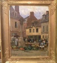 scène de marché en bretagne by gustave edouard le senechal de kerdreoret
