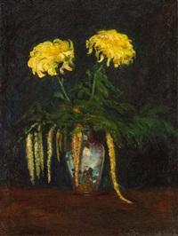 żółte chryzantemy i mimozy w porcelanowym wazonie by anonymous-ukrainian (20)