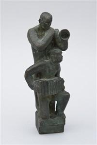 moderní život - jazz ii (trumpetista a harmonikář), (1924-25) by otto gutfreund