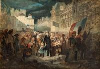 la place de l'hôtel de ville pendant la révolution de by clément-auguste andrieux