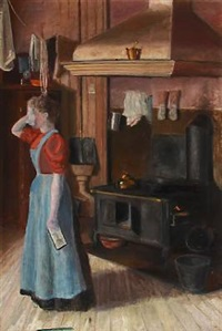 kitchen interior with a woman in tears by oscar gronmyraz