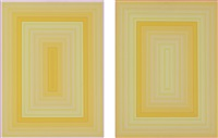 light blue rectangle; light orange rectangle (2 works) by richard anuszkiewicz