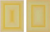 light blue rectangle; light orange rectangle (2 works) by richard anuszkiewicz
