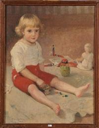 portrait d'un enfant entouré de ses jouets by franz van holder