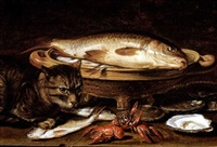 a cat and two mackerel with a sea bream in a colander, crayfish and oysters on a ledge by clara peeters