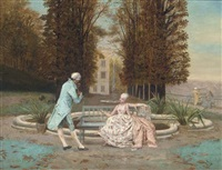 a private recital before the fountain by b. laurent