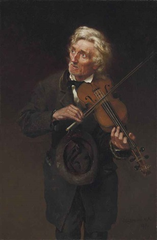 an old musician a merry air and a sad heart by john george brown