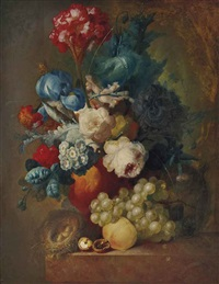 bouquet et un nid sur un entablement by jan van os