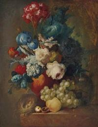 bouquet et un nid sur un entablement by jan van os