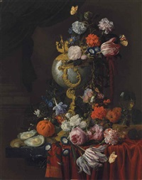roses, carnations, a parrot tulip, morning glory and two red admirals in a nautilus cup, with roses, morning glory and other flowers, an orange... by nicolaes van veerendael