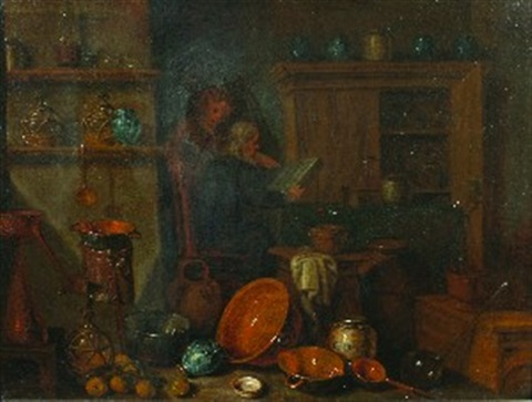 a kitchen still life by giovanni domenico valentino