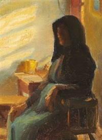 a blind woman ane in her room by anna kirstine ancher