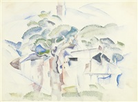 trees and houses (provincetown) by charles demuth