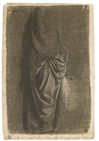 drapery study of a standing figure facing right, in profile by andrea del verrocchio