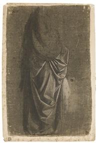 drapery study of a standing figure facing right, in profile by andrea del verrocchio