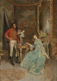 two figures conversing in an ornate interior by ettore simonetti