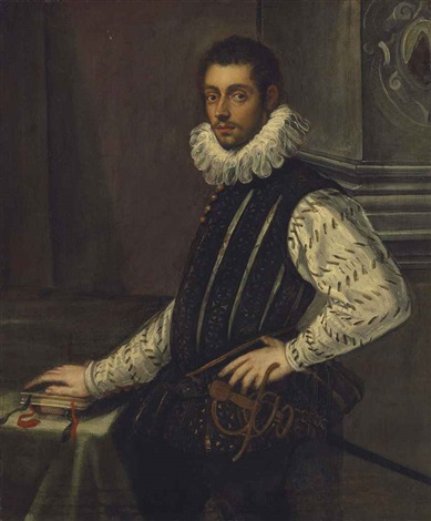 portrait of a young nobleman three quarter length in a doublet and a ruff resting his right hand on books standing in an interior by domenico tintoretto