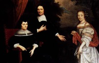 a portrait of a family with a couple wearing black costume and white collar and cuffs, and a young lady wearing a white satin dress with a red shawl by j. de langhe