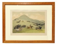 buffalo hunt, chase, pl. 6 (from north american indian portfolio. hunting scenes and amusements of the rocky mountains and prairies of america) by george catlin