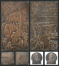 angas memorial bronze reliefs (6 works) by william robert colton