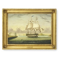 "packet ship ""george washington"" entering new york harbor by thomas chambers"