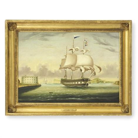 packet ship quotgeorge washingtonquot entering new york harbor by thomas chambers