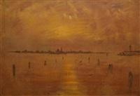 lagune au crépuscule, venise by charles cottet