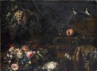 rose, anemoni e gelsomini con frutta e frammenti architettonici by giuseppe vicenzino