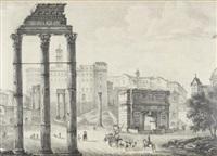 vue du forum à rome, avec les vestiges du temple des dioscures au premier plan by michelangelo pacetti