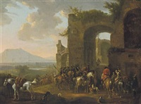 horsemen at rest before ruins, an extensive landscape beyond by philips wouwerman