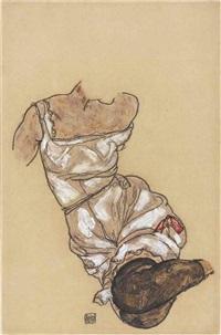 weiblicher torso in unterwäsche und schwarzen strümpfen by egon schiele