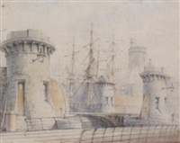 albert dock, liverpool by william gawin herdman