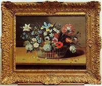 bouquet de fleurs dans un panier posé sur un entablement by jacques linard