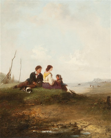 family resting beside the coast by edward robert smythe