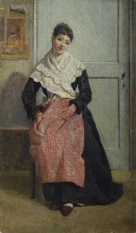 interno con figura seduta by eugenio cecconi