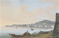 view of naples with the castel dell ovo, the certosa di san martino and the castel nuovo by saverio xavier della gatta