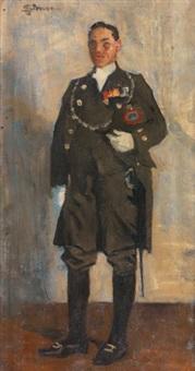 portrait en pied d'un militaire by lucien simon