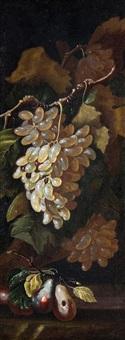 stillleben mit weintrauben und birnen (+ another; pair) by michelangelo di campidoglio